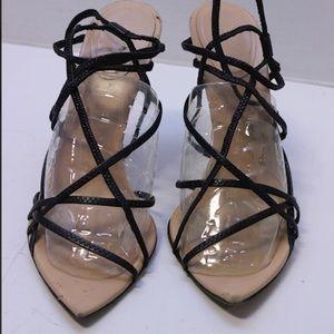 Authentic Nude & Black Gucci Strappy Stilettos